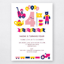 4th Birthday (Girl): Kids Party Invitation