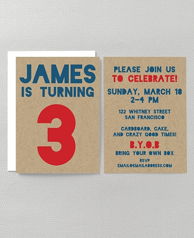 Box Birthday Kids Party Invitation