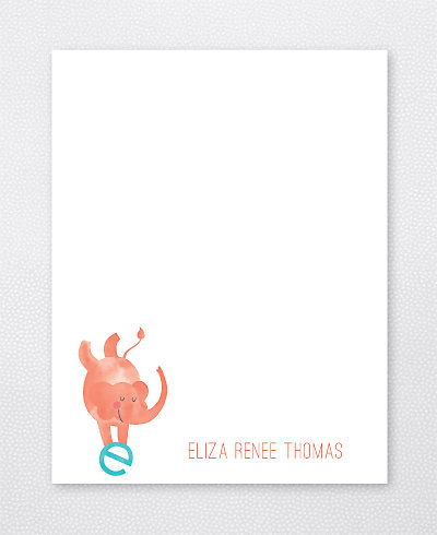 E is for Elephant Flat Note Card