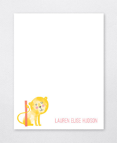 L is for Lion Flat Note Card