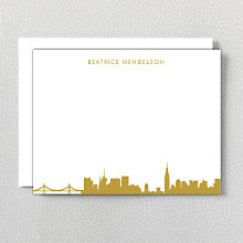New York City Skyline: Foil Flat Note Card