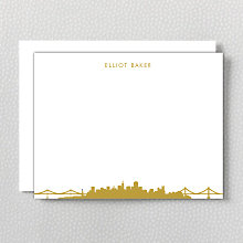 San Francisco Skyline: Foil Flat Note Card