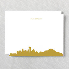 Seattle Skyline: Foil Flat Note Card