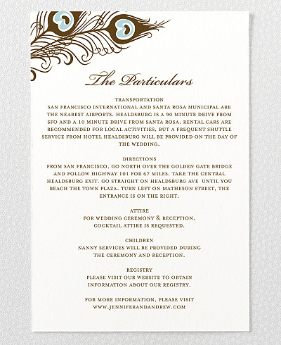 Antoinette Letterpress Wedding Details Card