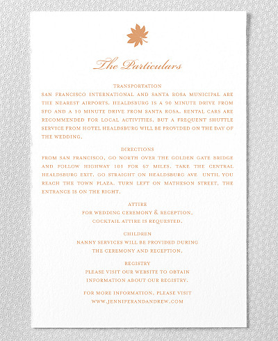 Autumn Leaves Letterpress Details Card