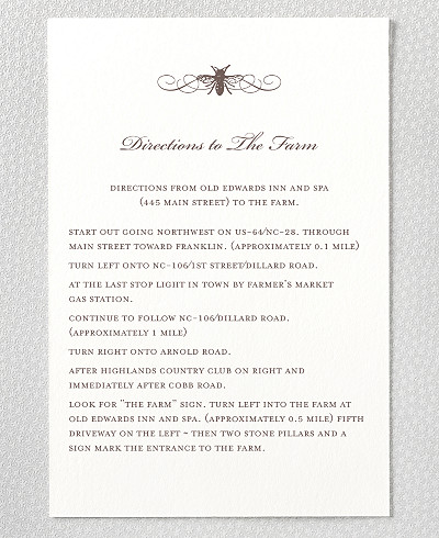 Belle Epoque Letterpress Wedding Details Card
