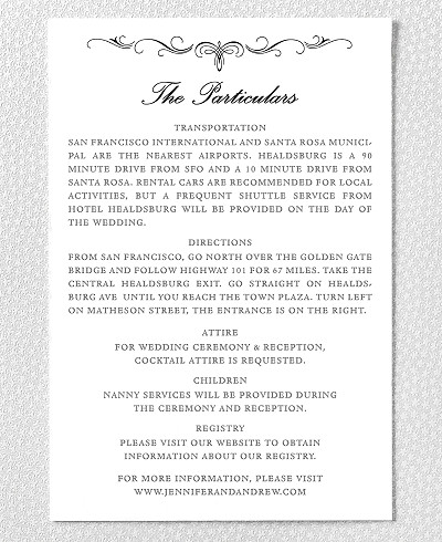 Biltmore Letterpress Wedding Details Card