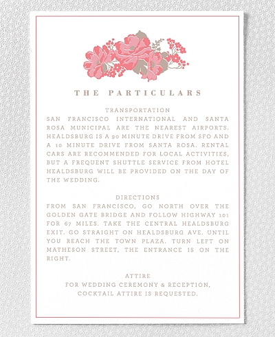 English Rose Letterpress Details Card