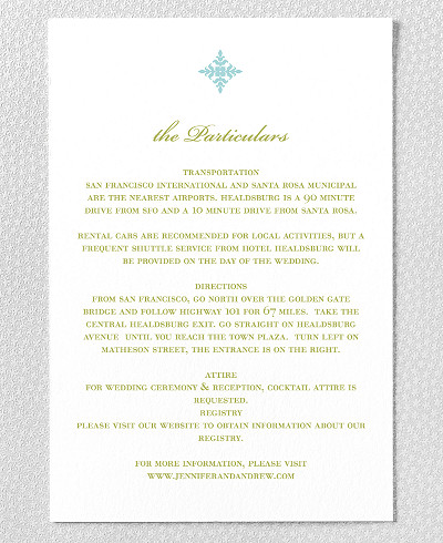 Ironwork Letterpress Wedding Details Card