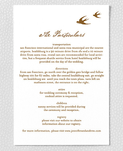 Naturalist Letterpress Wedding Details Card