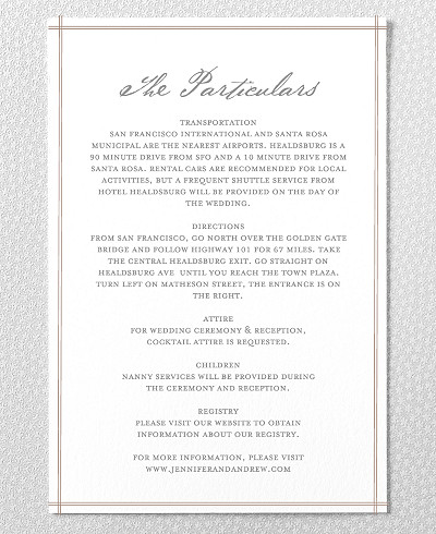 Orchid Letterpress Wedding Details Card