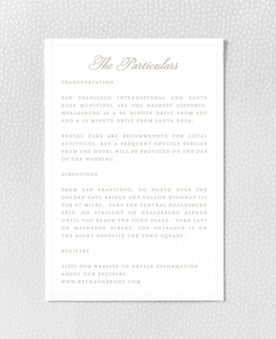 Romantic Garden Letterpress Details Card