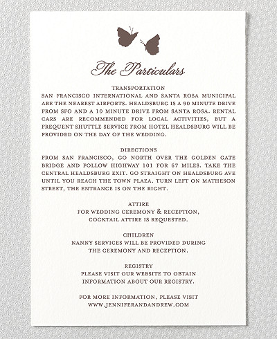 Shangri-La Letterpress Wedding Details Card