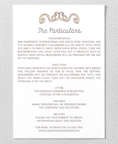 Tie The Knot Letterpress Details Card