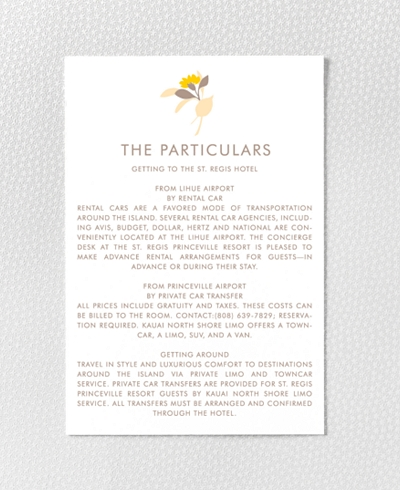 Tropic Letterpress Details Card