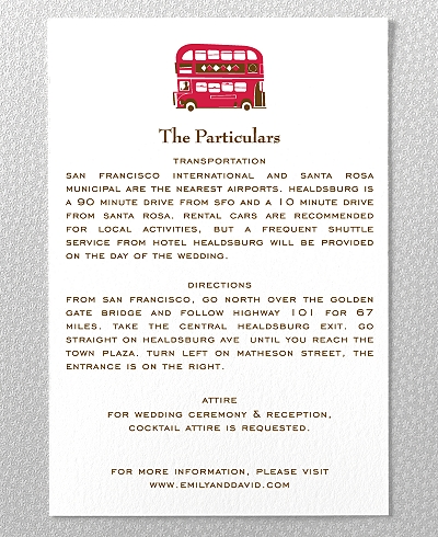 Visit London Letterpress Wedding Details Card