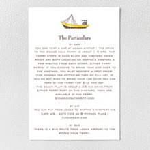 Visit Martha's Vineyard---Letterpress Details Card