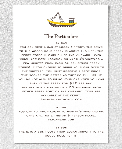 Visit Martha's Vineyard Letterpress Details Card