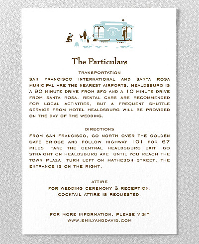 Visit San Francisco Letterpress Wedding Details Card