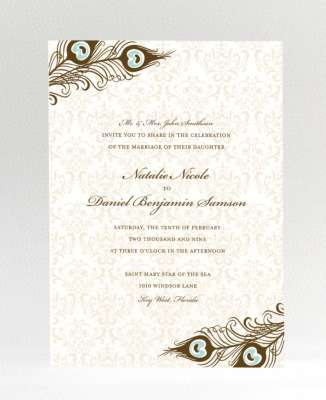 peacock damask wedding invite