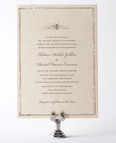 Belle Epoque Letterpress Wedding Invitation