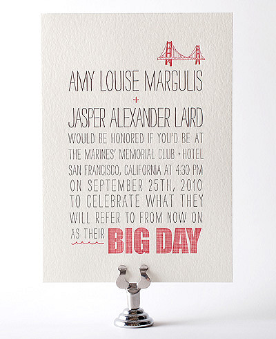 Big Day Letterpress Wedding Invitation