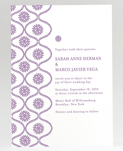 Bohemian Letterpress Wedding Invitation