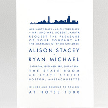 Boston Skyline---Wedding Invitation