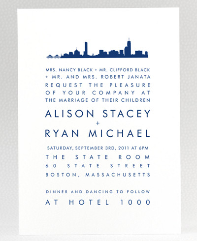 Boston Skyline Wedding Invitation