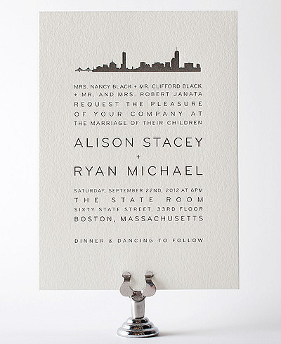 Boston Skyline Letterpress Wedding Invitation