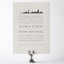 Boston Skyline: Letterpress Wedding Invitation