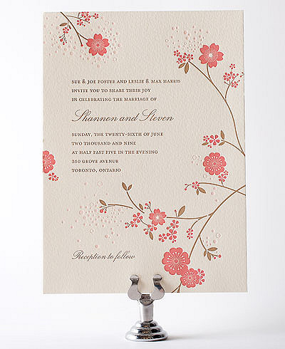 Cherry Blossom Letterpress Wedding Invitation