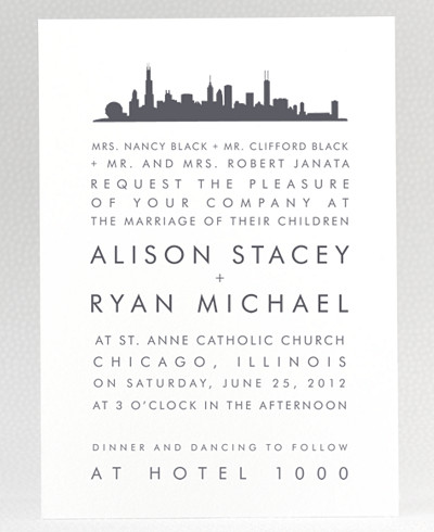 Chicago Skyline Wedding Invitation