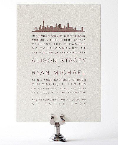 Chicago Skyline Letterpress Wedding Invitation