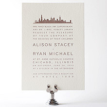 Chicago Skyline: Letterpress Wedding Invitation