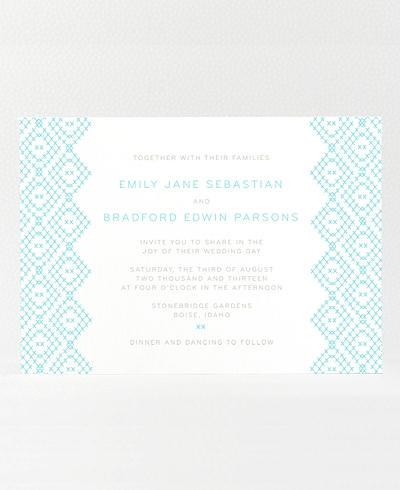 Cross Stitch Letterpress Wedding Invitation