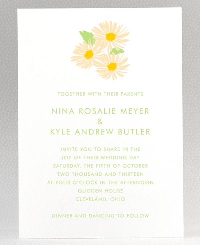 Daisy Letterpress Wedding Invitation