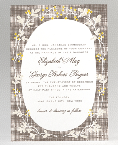 Darling Bud Letterpress Wedding Invitation