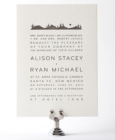 Desert Skyline Letterpress Wedding Invitation