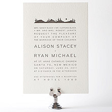 Desert Skyline: Letterpress Wedding Invitation