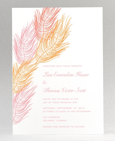 Feathers Letterpress Wedding Invitation