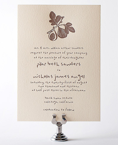 Figs Letterpress Wedding Invitation