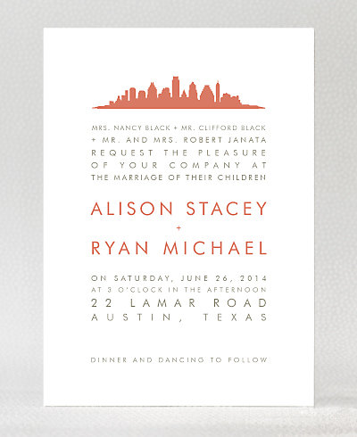 Austin Skyline Wedding Invitation