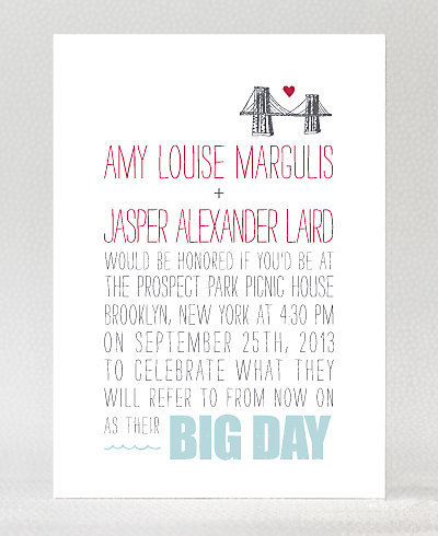 Big Day Brooklyn Letterpress Wedding Invitation