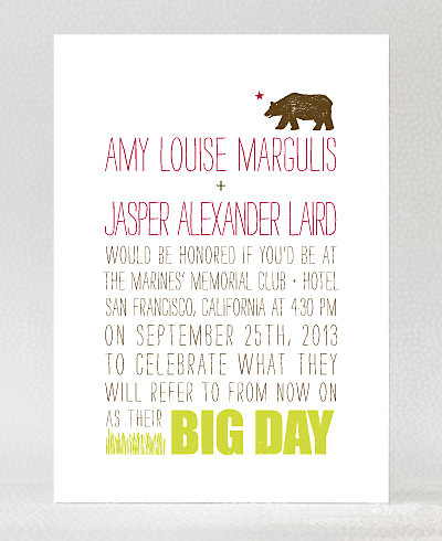 Big Day California Letterpress Wedding Invitation