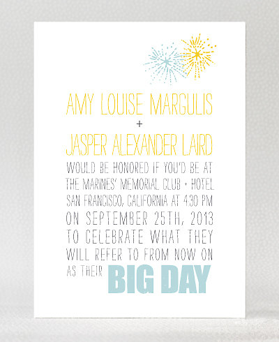 Big Day Fireworks Letterpress Wedding Invitation