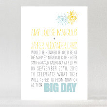Big Day Fireworks: Letterpress Wedding Invitation