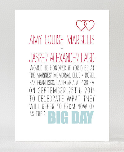 Big Day Hearts Wedding Invitation