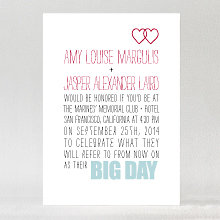 Big Day Hearts---Letterpress Wedding Invitation