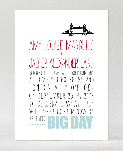 Big Day London Letterpress Wedding Invitation